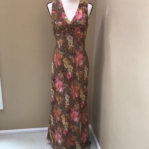 Papell Boutique Silk Floral Sleeveless Dress